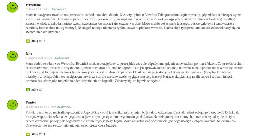 Bioveliss Tabs opinie z forum