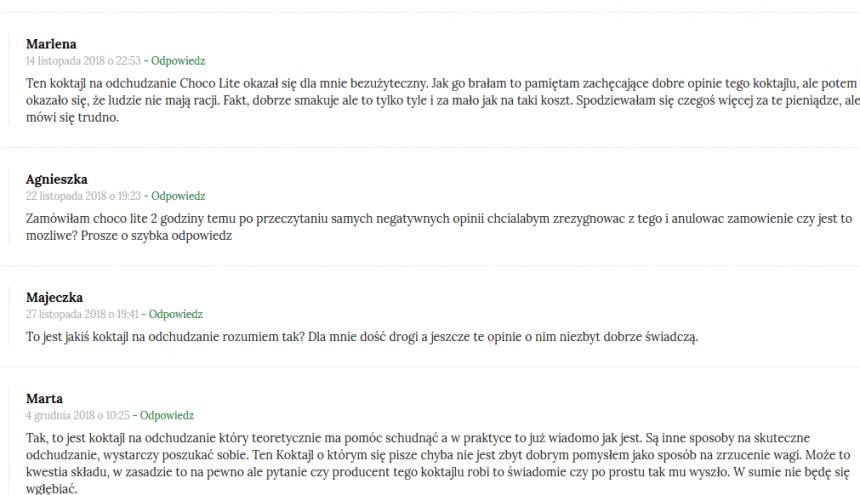 Choco Lite opinie z forum